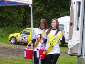 Coral and Stacy hande out vouchers at Dukeries Rally Nottingham