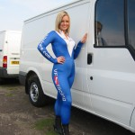 Faye along side of of the Van Monster vans