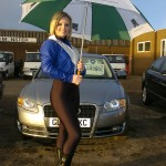 Faye at Van Monster with Umbrella