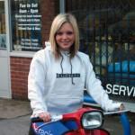Faye in Lambretta sweatshirt