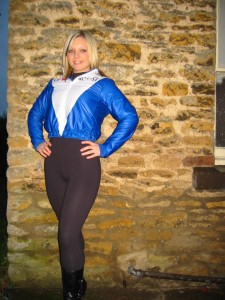 Faye in leggins and VF-Racing top