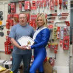 Faye with Peter Wilkinson at Transtools with flyers