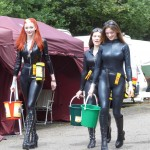 Meg Rosie and Laura the grid girls collecting for charity
