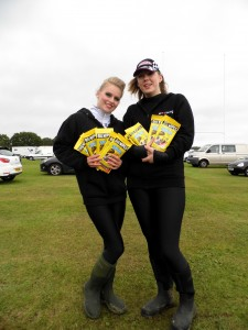 Milly and Melissa with promotional goodies