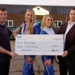 Paul Vasey with Milly Lizzy and Van Monster with sponsorship cheque