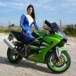 Tori on Kowasaki Bike